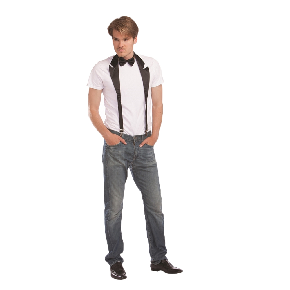 Tux Suspenders with Collar & Bow Tie