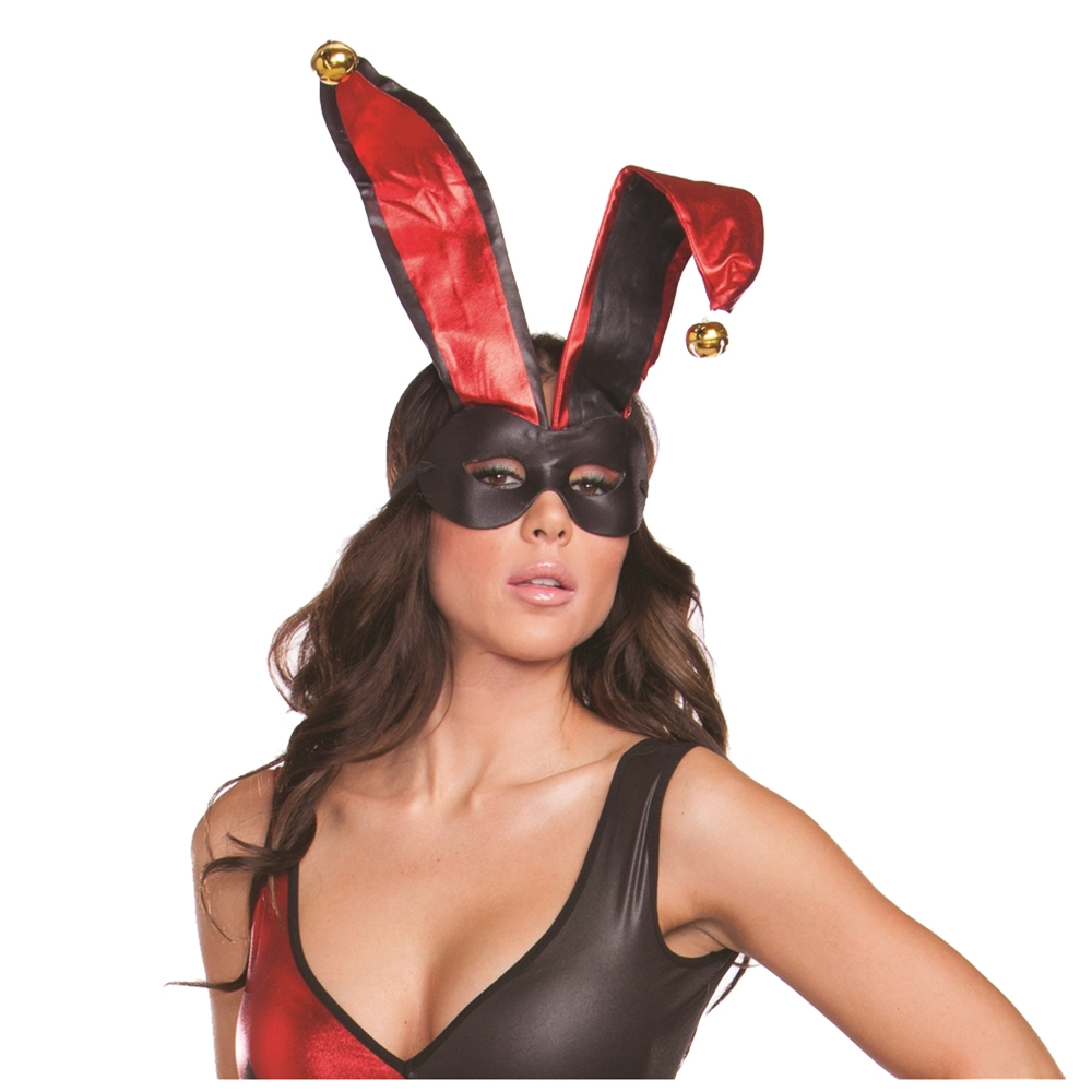 Harlequin Black & Red Mask with Ears