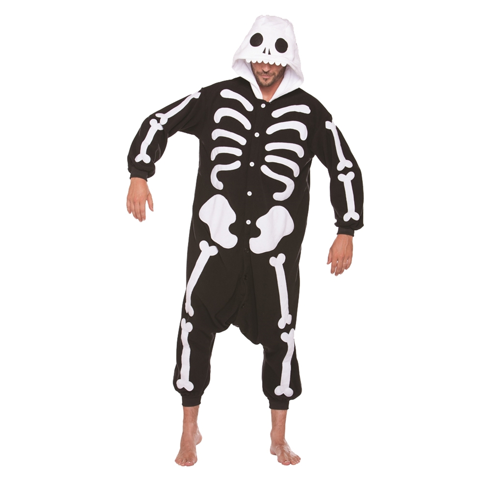 Skeleton Bones Plush Adult Unisex Onesie