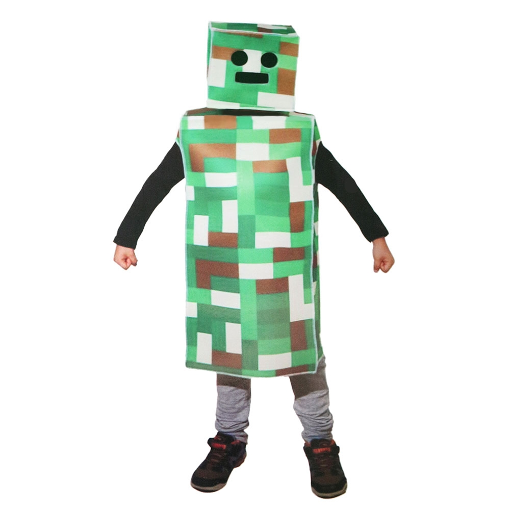 Green Pixel Robot Monster Child Costume