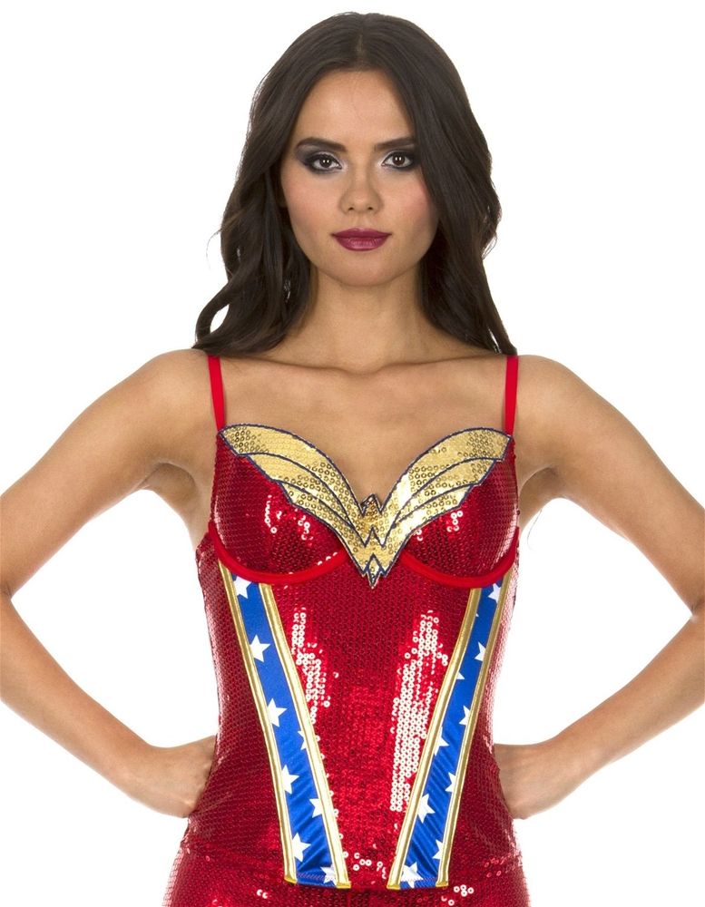 Wonder Woman Sequin Adult Womens Corset