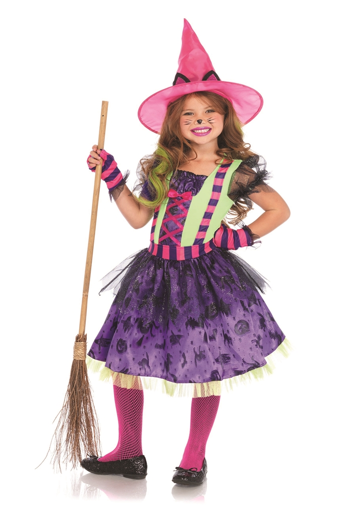 Colorful Cat Witch Child Costume