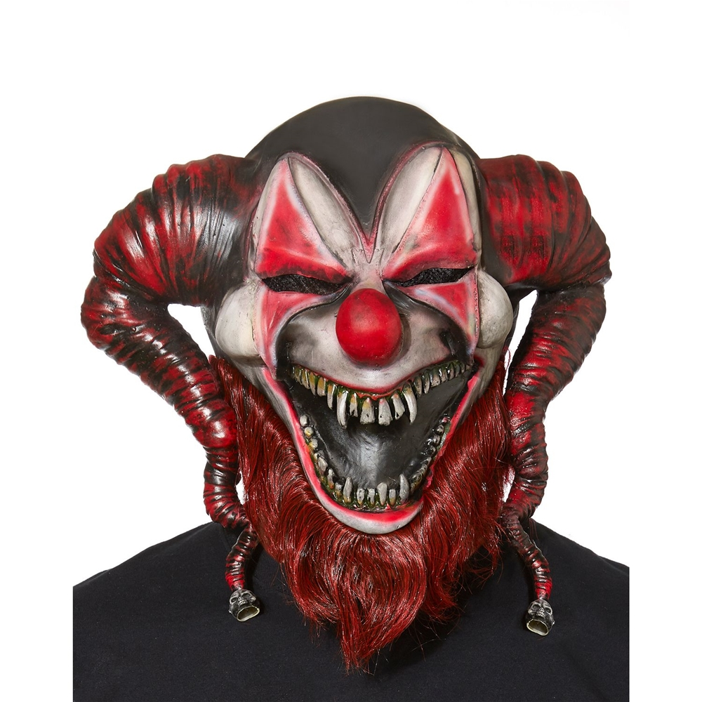 Bearded Red Jester Mask