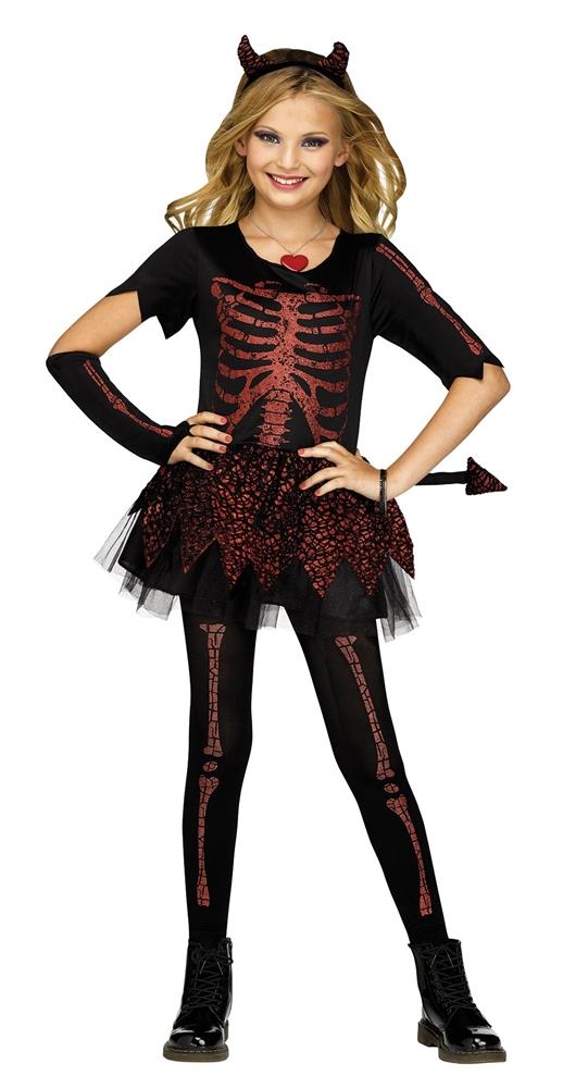 Devilish Skeleton Girl Child Costume