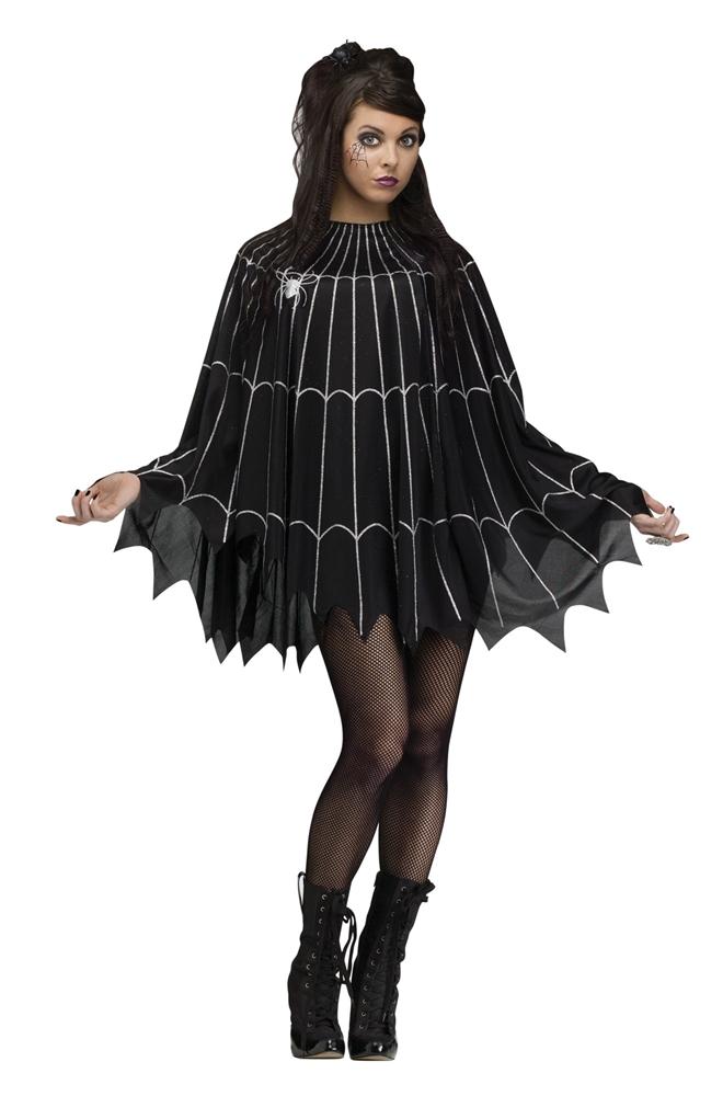 Black & Silver Spiderweb Poncho