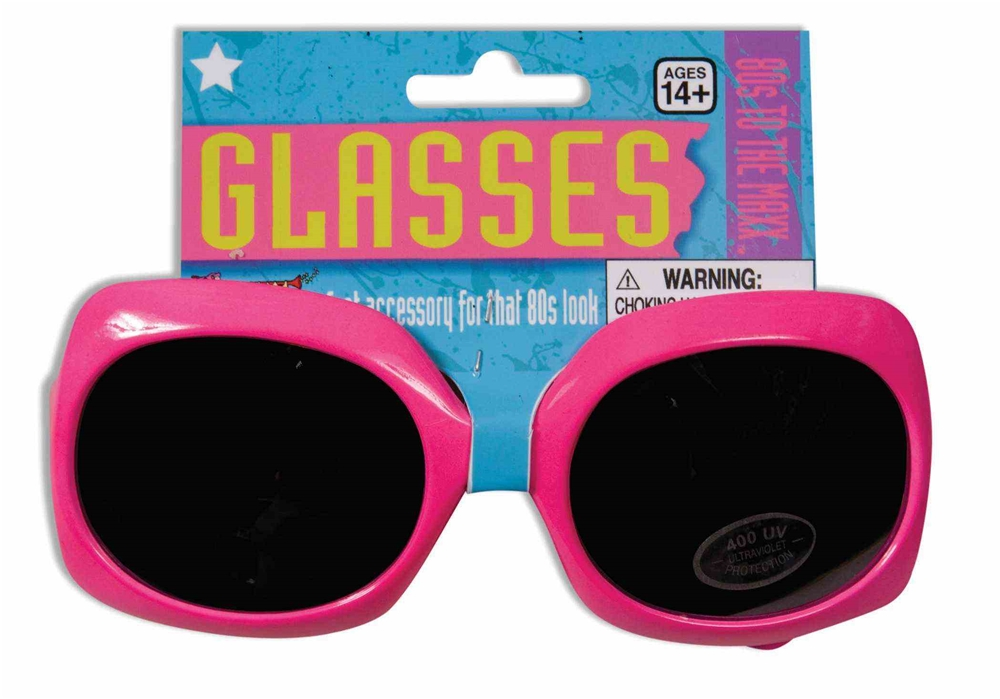 80s Neon Pink Square Glasses
