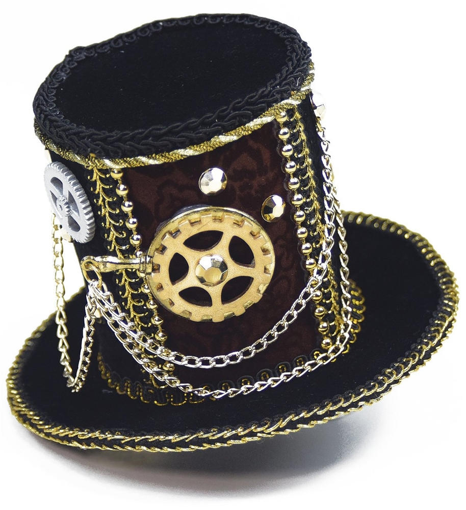 Steampunk Traveler Mini Top Hat with Gears