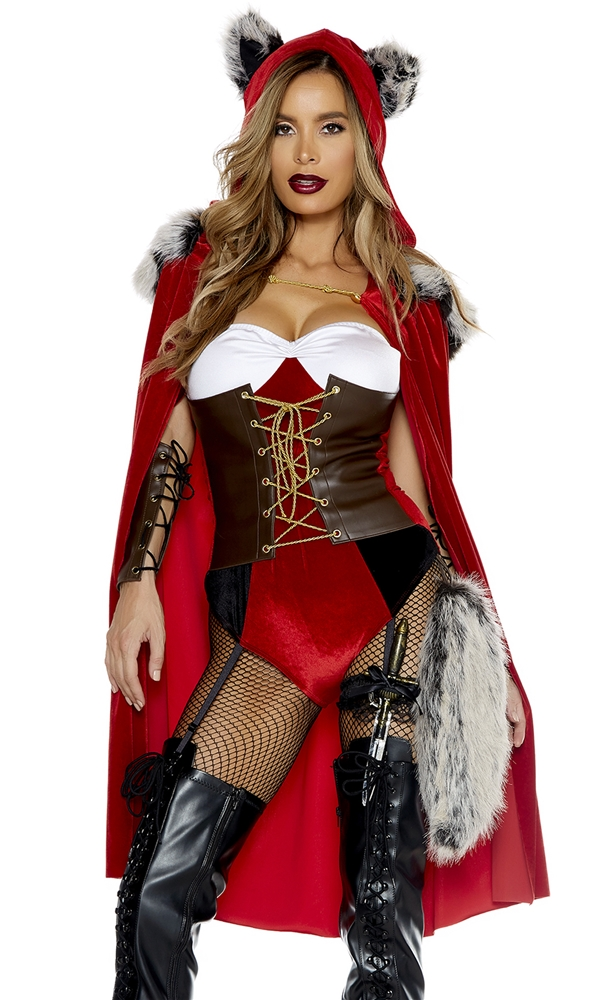 red haute riding wolf adult womens costume 378086