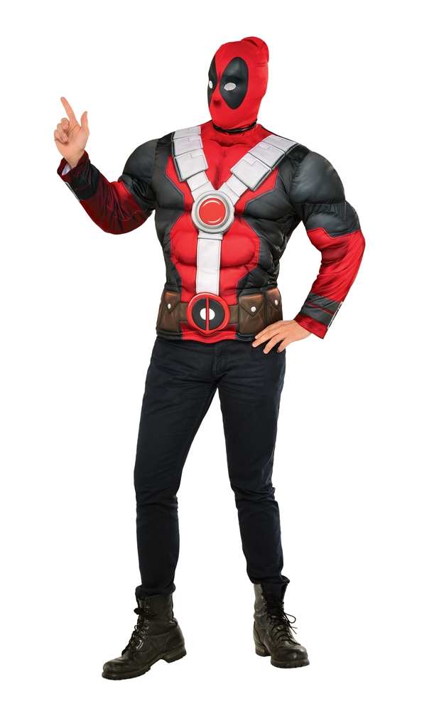 Deadpool Adult Mens Muscle Shirt & Mask