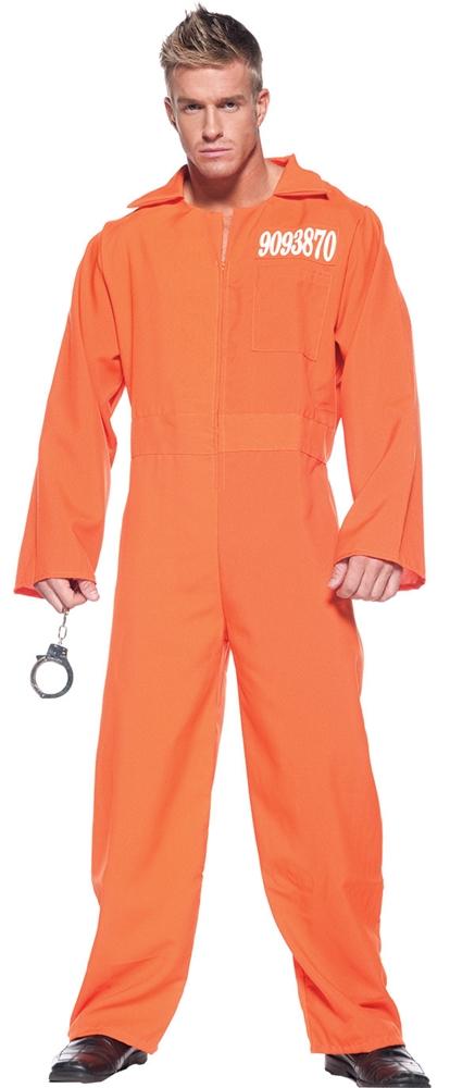 Orange Prisoner Jumpsuit Adult Mens Plus Size Costume