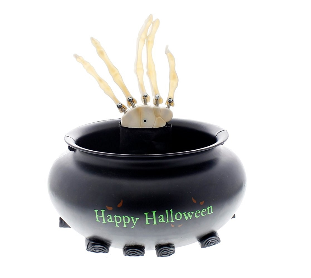 Animated Skeleton Hand in Cauldron Candy Bowl
