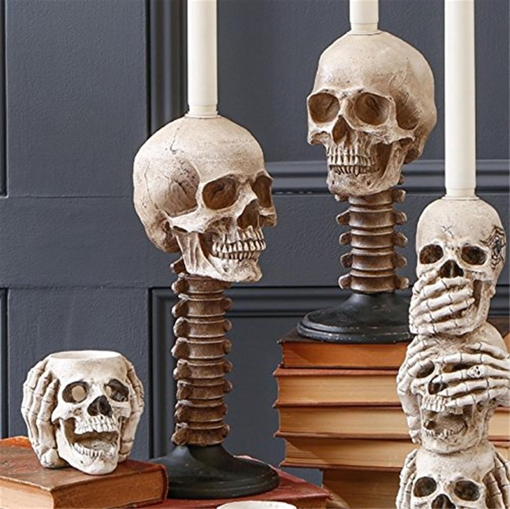 Skull Amp Spine Candle Holder 11 5in Trendyhalloween Com