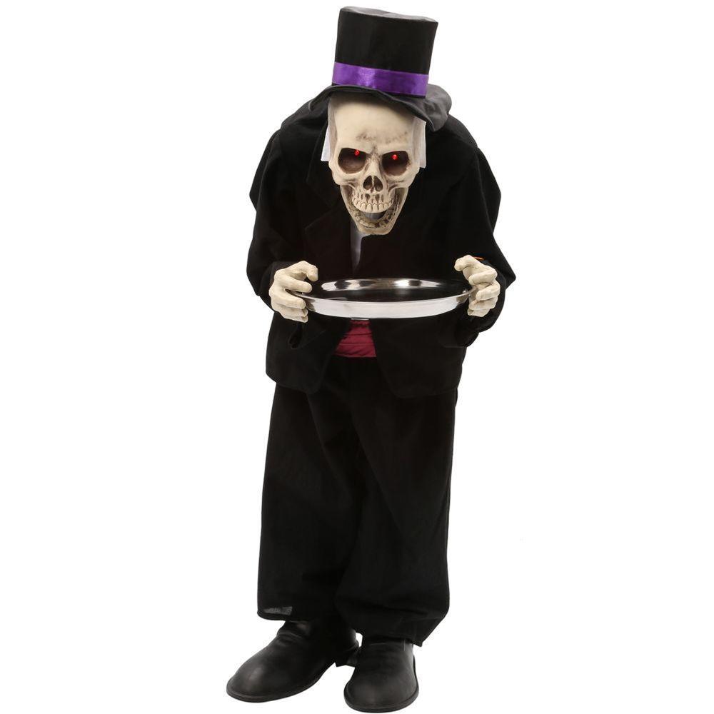 animated bobblehead skeleton butler prop 3ft - 386148