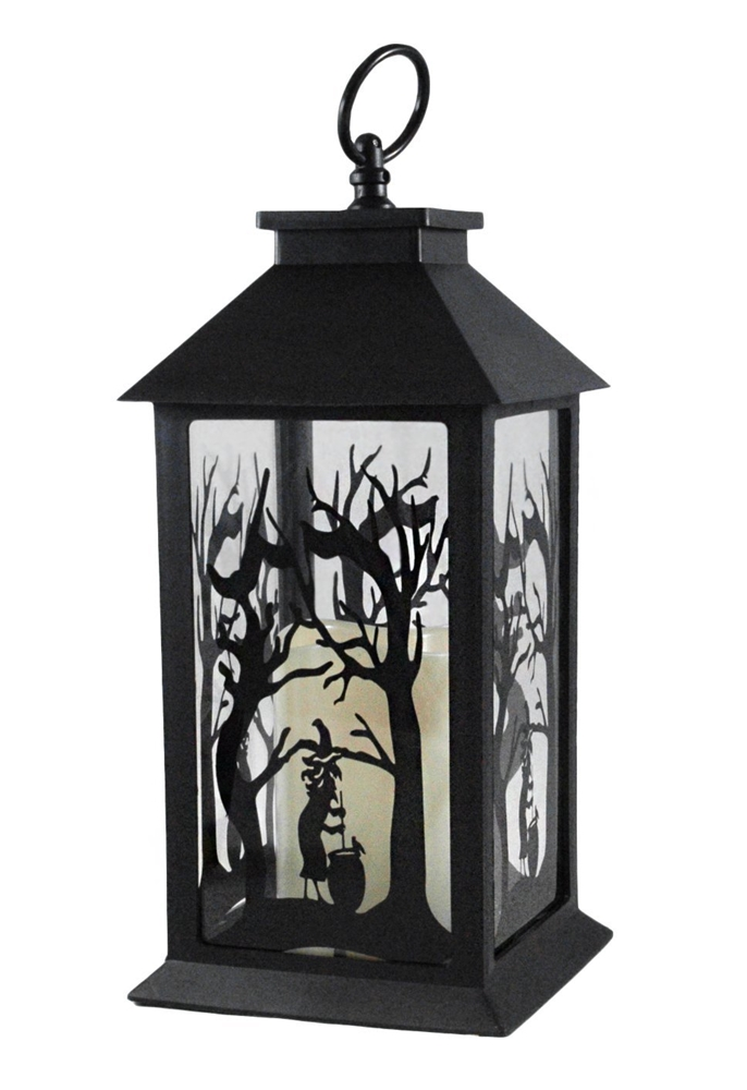 [Witch Silhouette Halloween Lantern with LED Candle] (Halloween Candles)