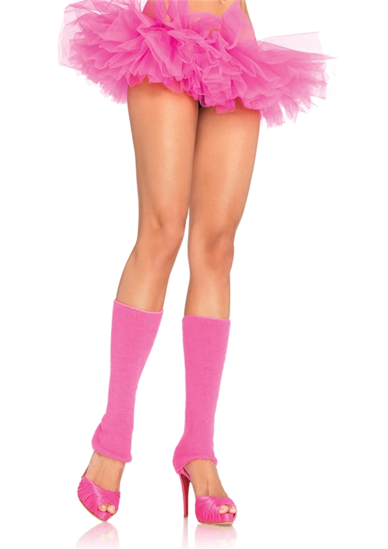 Neon Pink Ribbed Leg Warmers by Leg Avenue