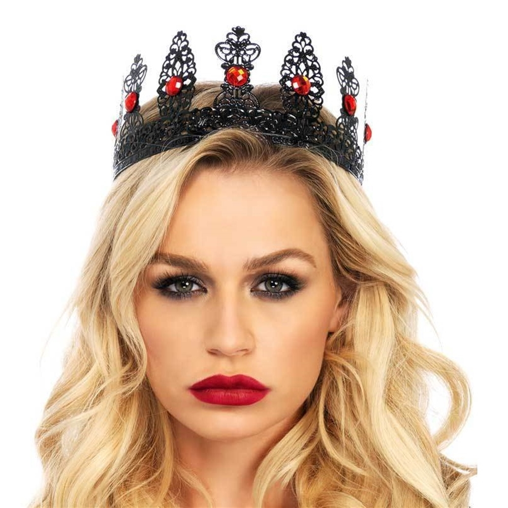 Royal Black Metal Filigree Crown