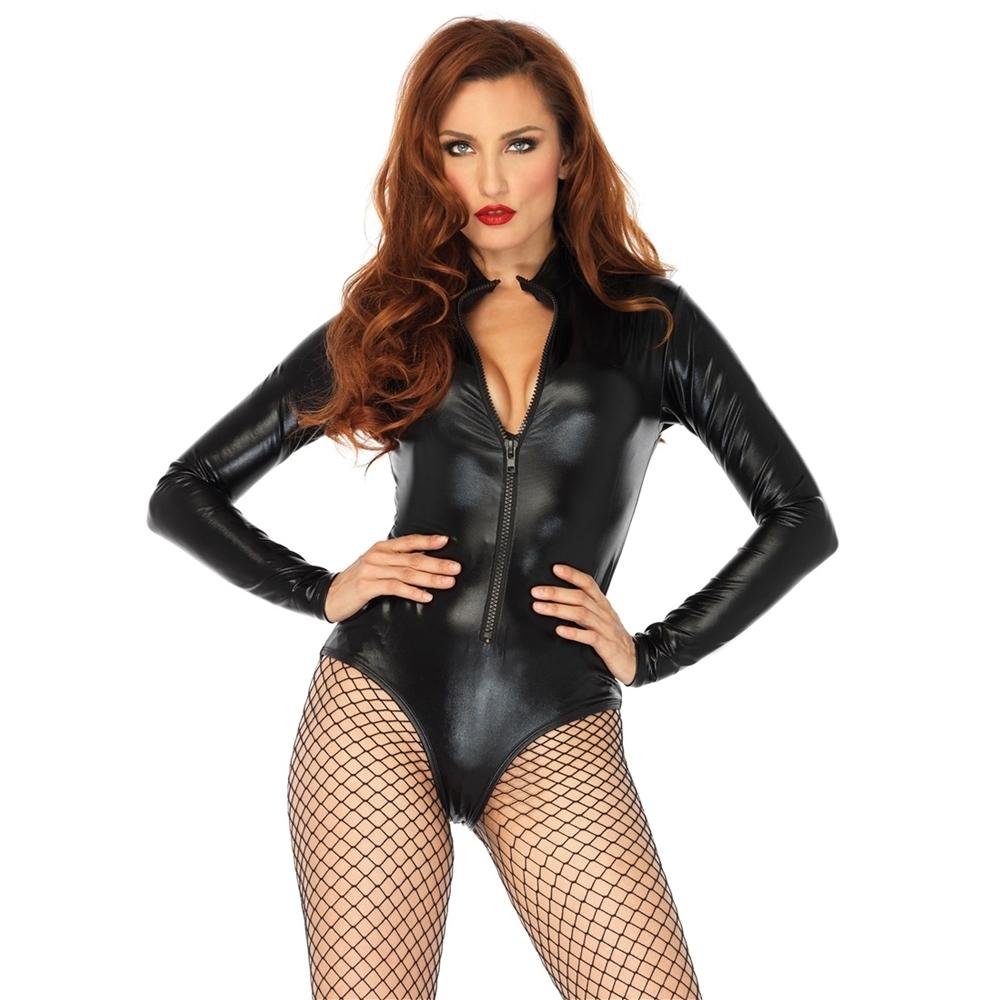 Black Lame Zipper Front Adult Womens Bodysuit