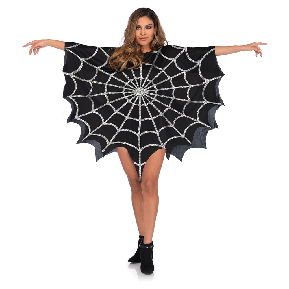 Www Halloween Decorating Ideas: Black Glitter Spiderweb Poncho - 392992