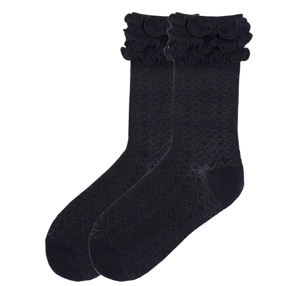 Byzantine Brocade Black Ruffle Socks