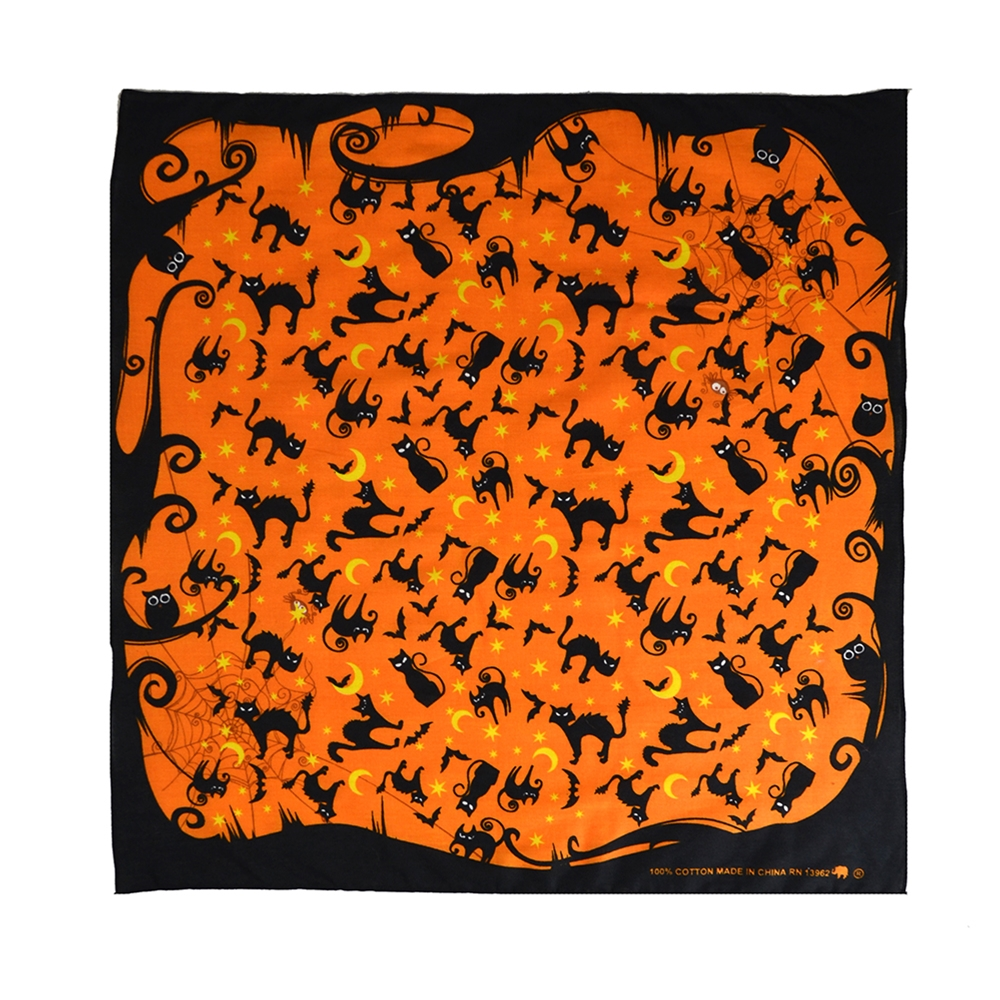 Black Cat Orange Bandana