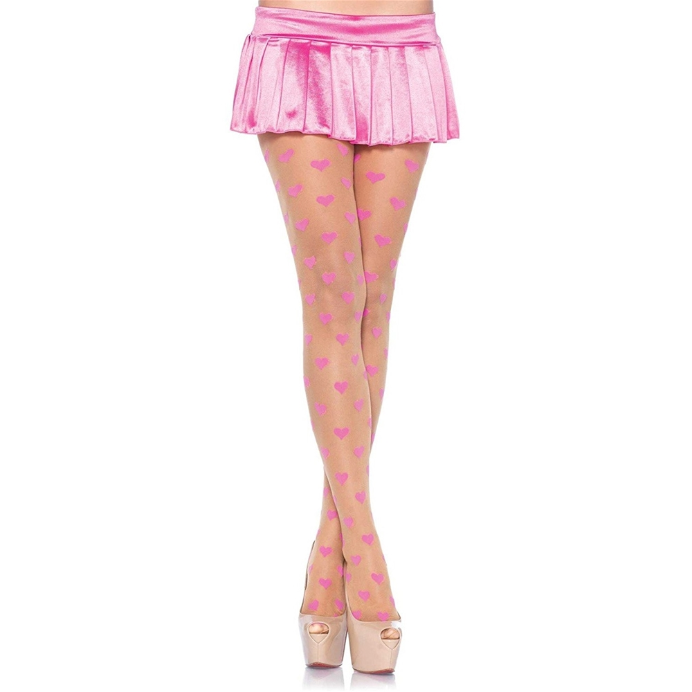 Nude Sheer Pantyhose with Pink Hearts Z7918-NUDEPNK