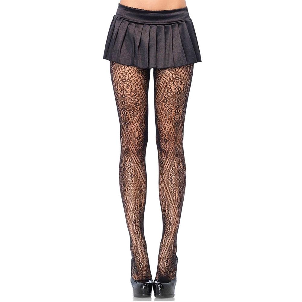 Black Florentine Lace Pantyhose