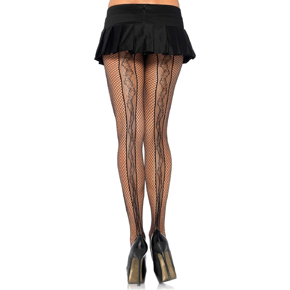 Black Fishnet Pantyhose with Lace Back Seam