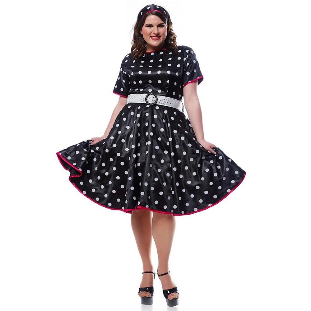 Www Halloween Decorating Ideas: Hot 50s Polka Dot Adult Womens Plus Size Costume