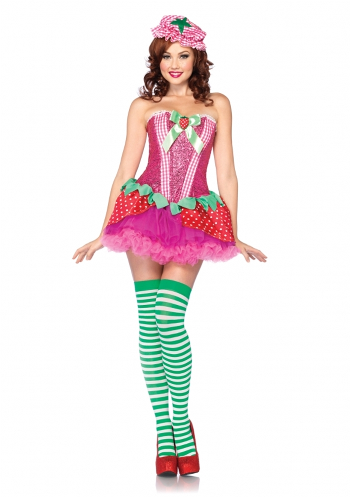 3PC Strawberry Sweetie Adult Women Costume