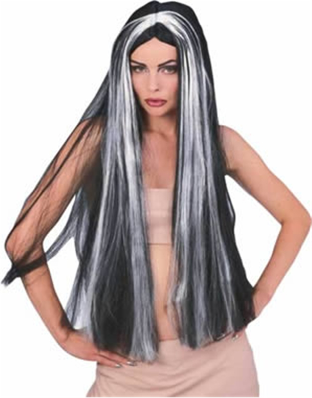 36in Long Black Vampire Wig with Grey Streaks