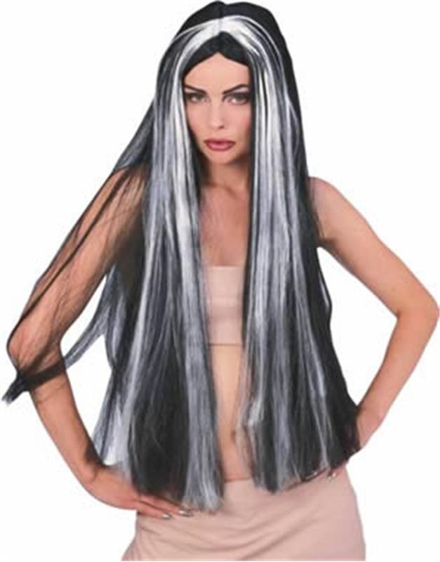 36in Long Black Vampire Wig with Grey Streaks