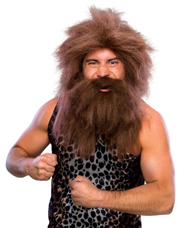 Caveman Beard & Brown Wig