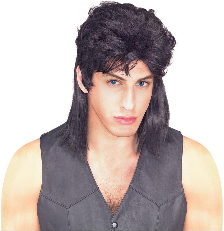 Black Mullet Adult Wig