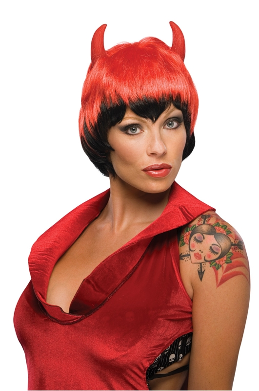 Short Devil Wig with Horns