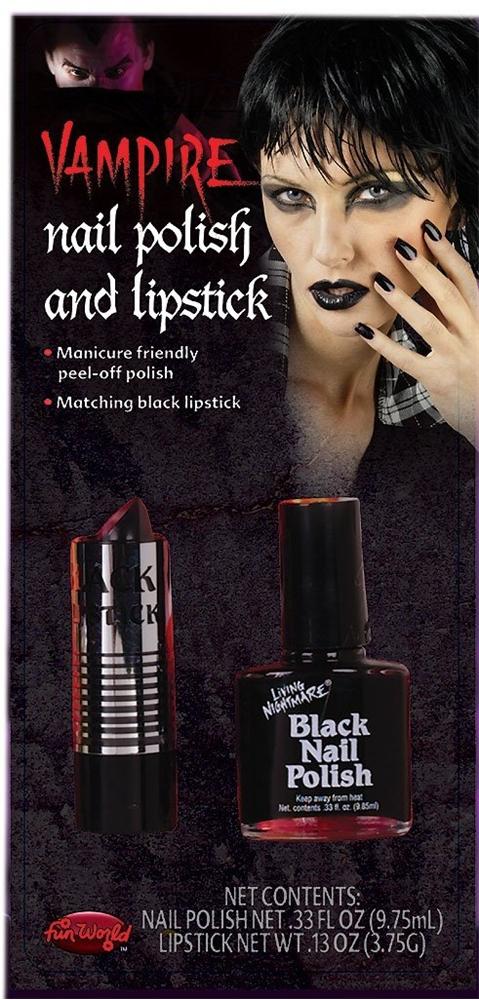 Black Lipstick And Nail Polish Kit