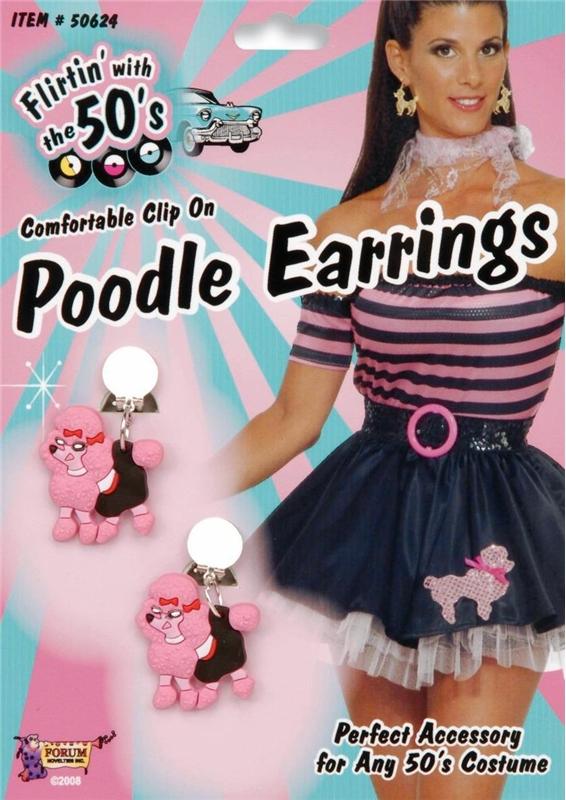 50s Pink Poodle Earrings by Forum Novelties