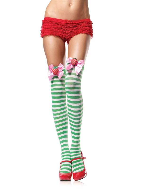 Green & White Striped Thigh Highs