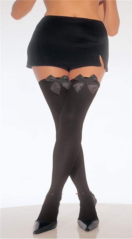 Image of Black Thigh High Stockings with Black Bow Plus Size