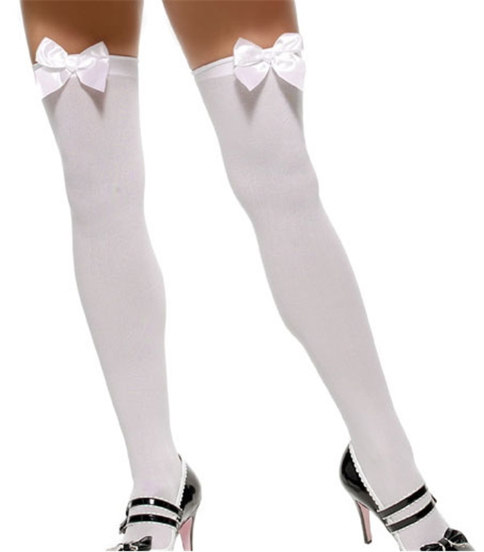 White Thigh Highs with White Bow Plus Size