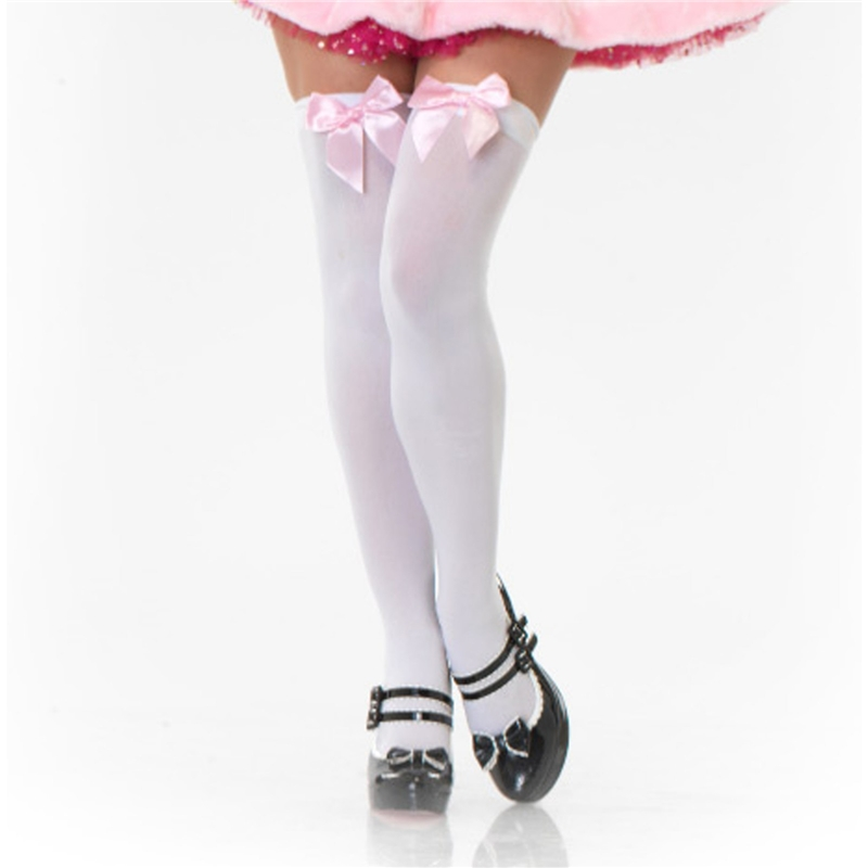 White Thigh Highs with Pink Bow