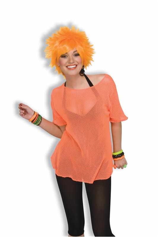 80s Neon Orange Mesh Adult Top