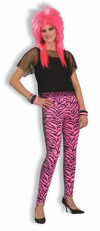 80s Pink Zebra Print Stirrup Pants