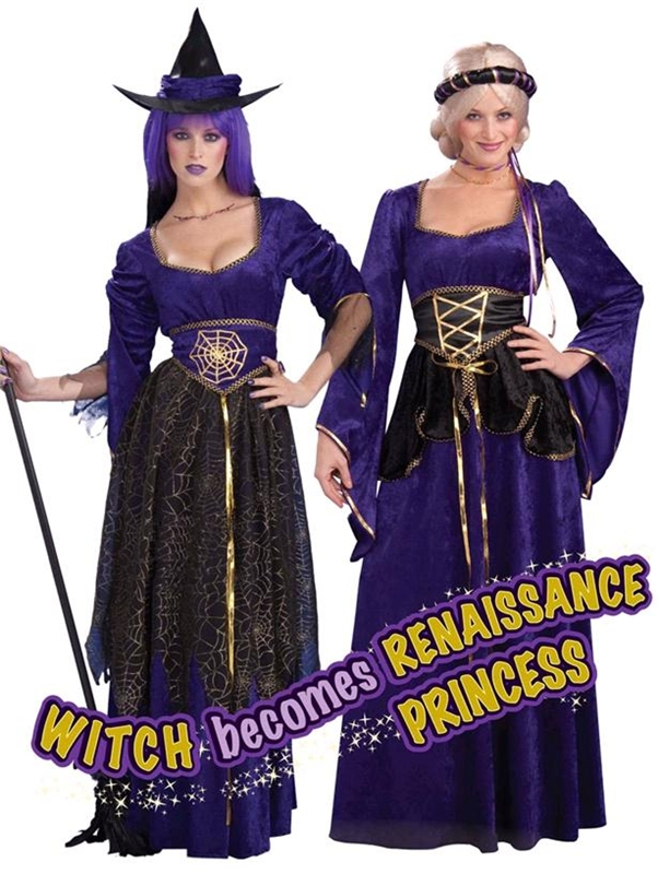2-in-1 Witch / Renaissance Princess Adult Costume
