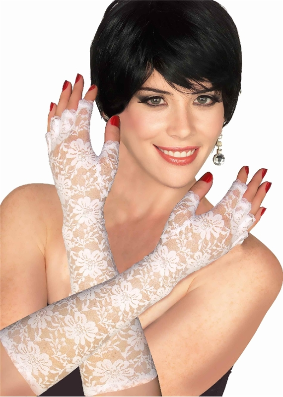 White (White Lace Fingerless Gloves)
