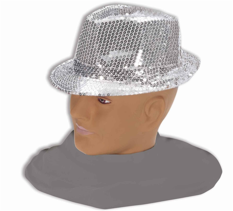Silver Sequin Fedora Adult Hat