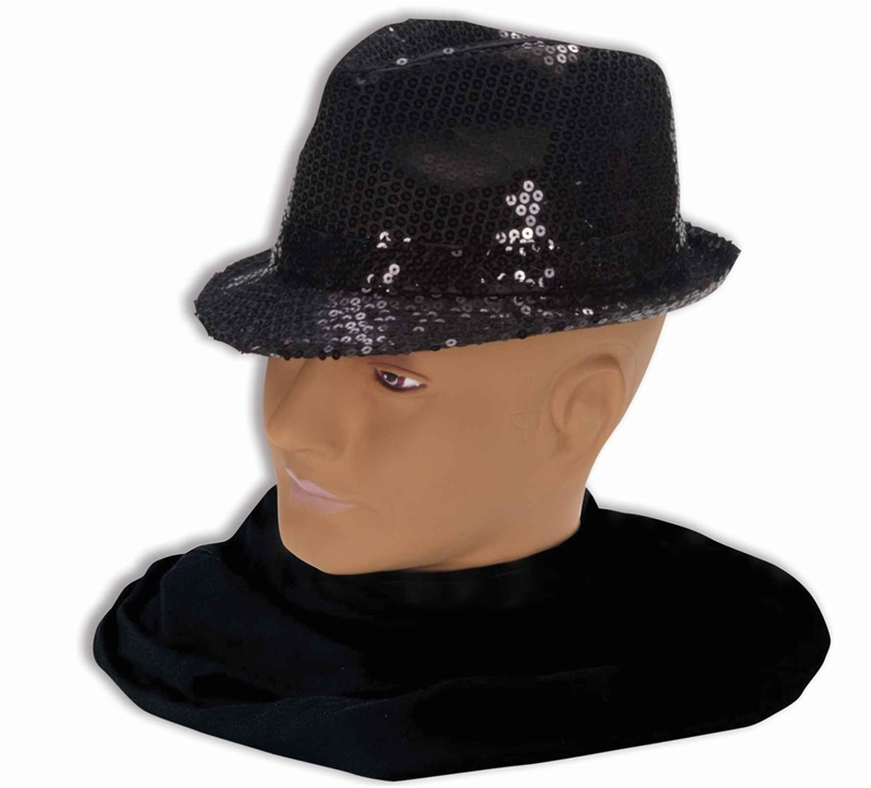 Black Sequin Fedora Adult Hat