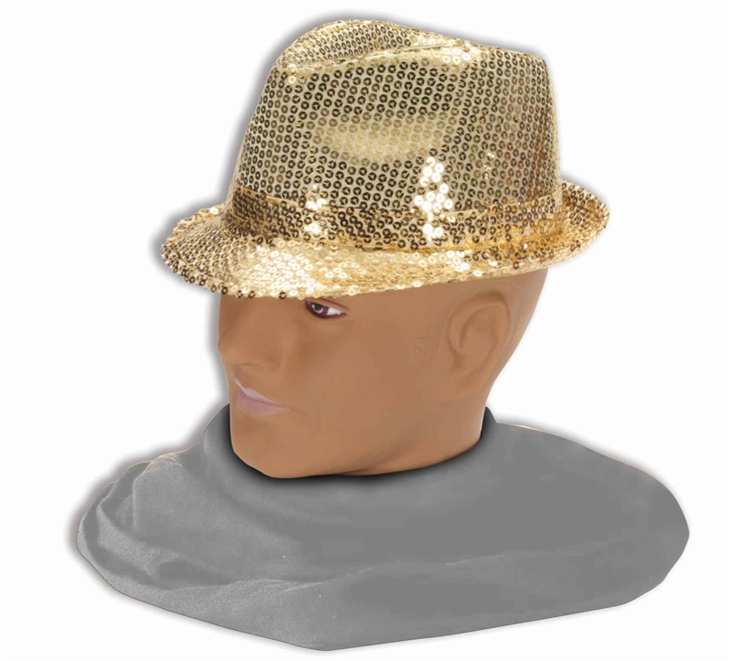 Gold Sequin Fedora Adult Hat