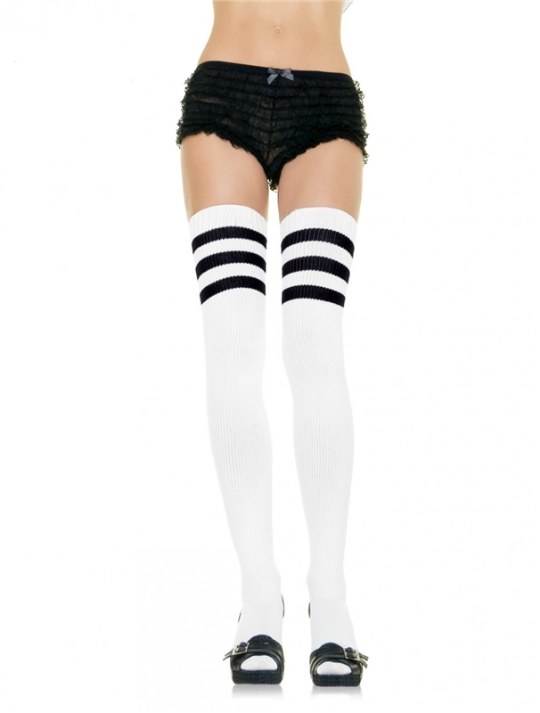 White Thigh High Socks with Black Stripes by Leg Avenue