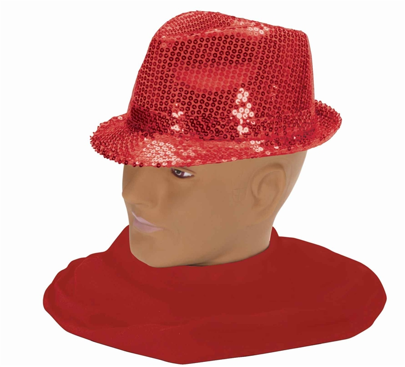 Red Sequin Fedora Adult Hat
