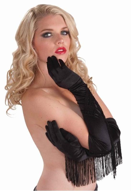 Satin Fringed Gloves